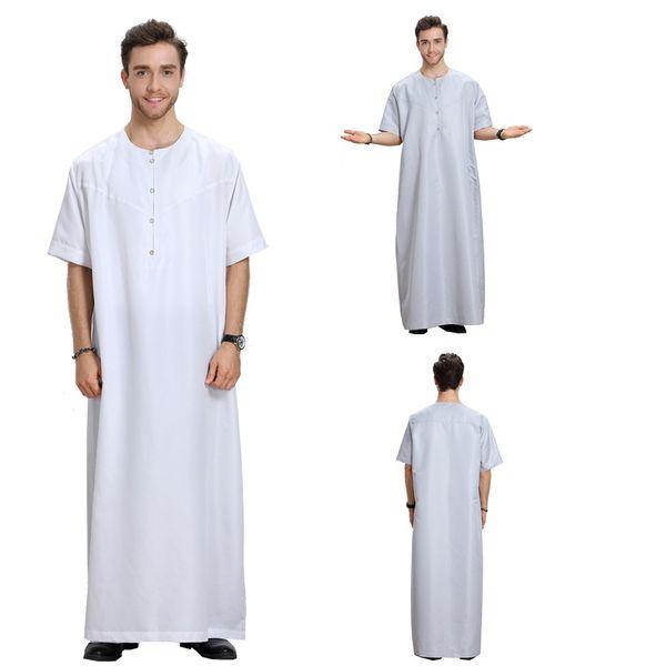 2019Muslim Arab Clothing Men Dress Thobes Kaftan Casual Button Manica corta Medio Oriente Dubai Robe Male Islamic Kaftan S-3XL