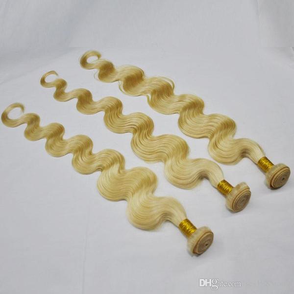 비 레미 헤어 확장, 95 그램 번들 3 개 하나 후 표백 금발 613 # 머리 번들 길이 10-28 인치 100 % 인간의 머리 직조