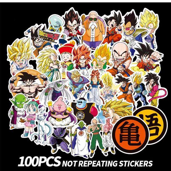 100 pcs/set New Dragon Ball Z Graffiti Sticker Personality Luggage DIY Stickers Cartoon PVC Wall Stickers Bag Accessories Kids Gift Toys
