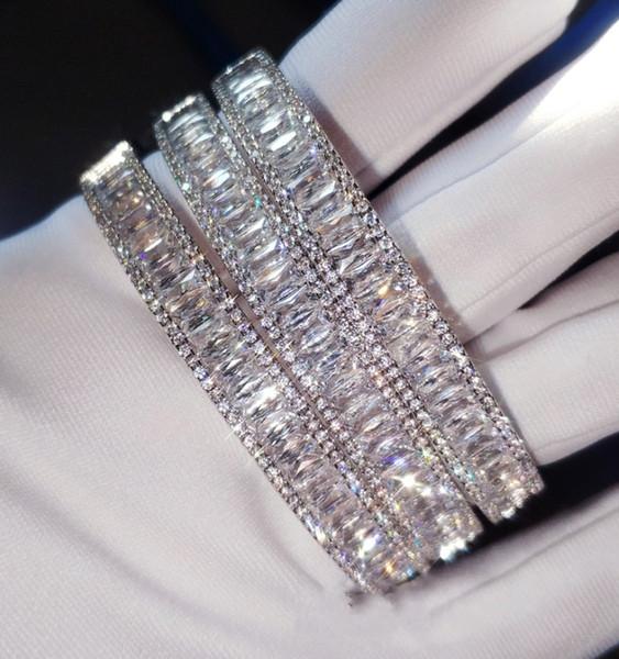 USpecial Brand New Luxury Jewelry 925 Sterling Silber Princess Cut Weiß Topaz CZ Diamant Edelsteine Hochzeit Armreif Frauen Handgelenk Armband Geschenk