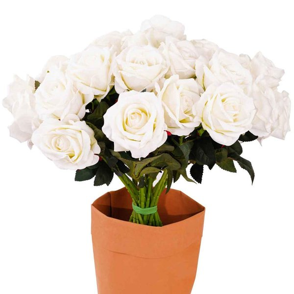 20Pcs Artificial Rose Silk Flowers, Artificial Fake White Roses Real Touch Rose Bridal Bouquet