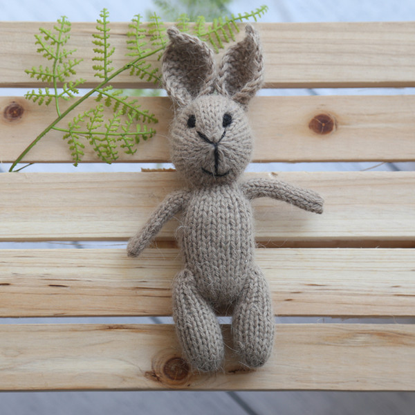 Knit Bunny Toy Newborn Fluffy Rabbit Doll Baby Knitted Gril Stuffer Animal Bunny Toy Newborn Photography Props