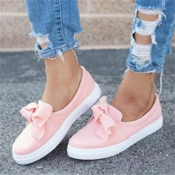 Summer Autumn Casual Women Sneakers Shoes Fashion Bow Plus size Women Flats slip on canvas shoes Loafers Footwear Female