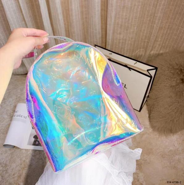 Le sac à main géométrique de laser le sac à bagages transparent a coloré les sacs de voyage sacs de voyage totes sac à main duffle sac été sacs de gymnastique de plage FF125