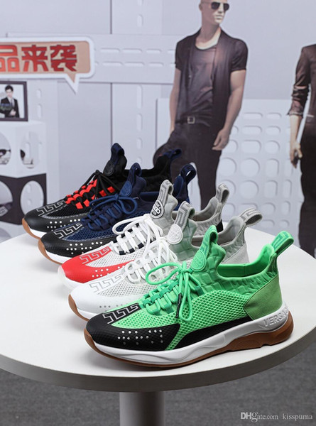 Versace 2019 Nouvelle Réaction de Chaîne Designer Sneakers Casual Mode Sport hommes femmes Casual Chaussures Formateur Léger Link-Embossed Sole Avec Dust Bag