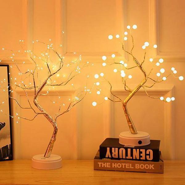 Salon Yatak odası Aydınlatma Usb Batarya ile çalışan Pearl için Gece Işığı Mini Sensörü Kontrolü Enerji Tasarruflu Lamba Ağacı