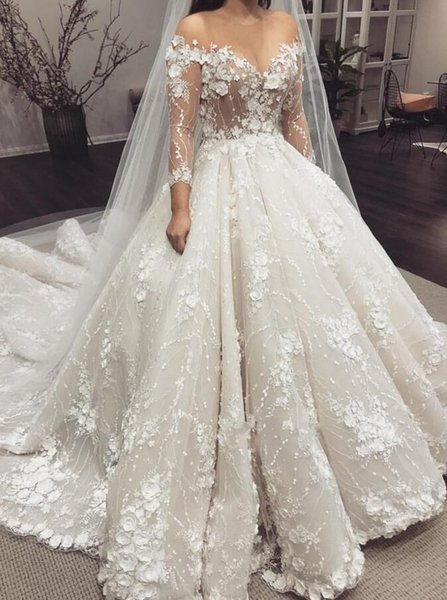 New Design Long Wedding Dress 2019 V-neck Long Sleeves Chapel Train Ball Gown Appliques Tulle Bride Gowns Robe de soriee