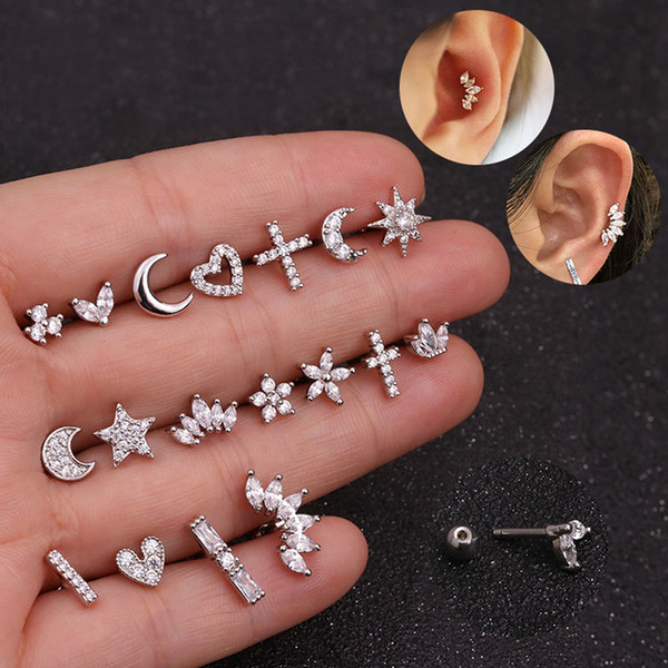 1PC Moon Star Heart Cross Flower Crown Earrings New Fashion Silver Gold Color Stud Earrings Punk Cartilage Helix Stud