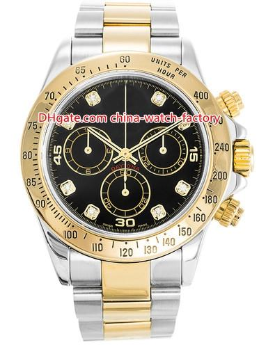 10 Style Topselling High Quality Watch 40mm Cosmograph 116523 116503 No Chronograph 18k Gold & Steel Mechanical Automatic Mens Men's Watches