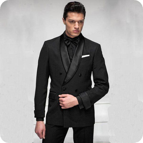 Italien Schwarz Bräutigam Anzüge für Männer Hochzeit Tuxedo zweireihiger Groomsmen Attires Ternos Slim Fit Man Jacke 2Piece Mann Blazer Kostüm Homme