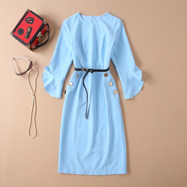 Европейский и американский женская мода 2019 весна новый стиль три четверти расклешенные рукава синий мода пояс платье