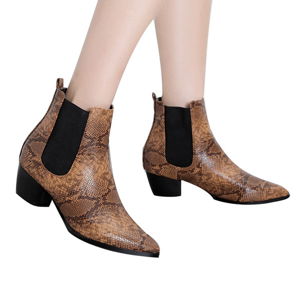 Women Boots 2019 Autumn Ankle Boots For Women Snake Print Fashion Paisley Female Casual Shoes Leather Botas Mujer O11