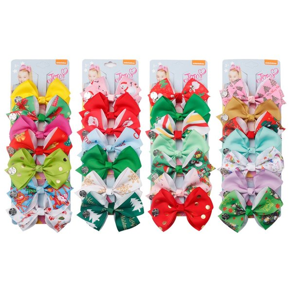 New girl hair bows JOJO colorful bow Christmas design hair accessories 1set 7 piece boutique child Barrettes baby princess accessories