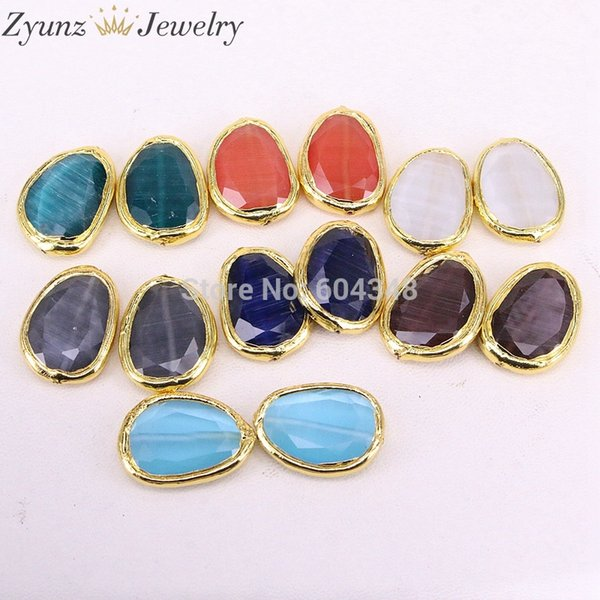 10PCS ZYZ326-1083 Gold electroplated Mixed flatback natural stone cat eye connector beads DIY for jewelry making