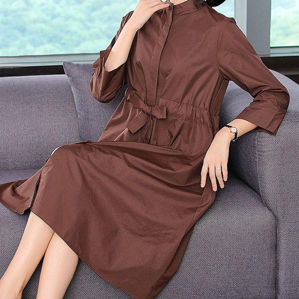 Ailegogo Frauen Nehmen Lange Trenchcoat Lässige Spitze Up New Fashion Frühling Mäntel Vintage Outwear Frau
