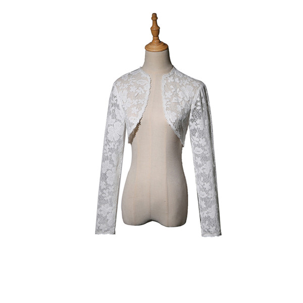 High end customization Long Sleeve jackets Women White wedding night Dance Bolero Jacket Women Lace Bolero Wedding Accessories