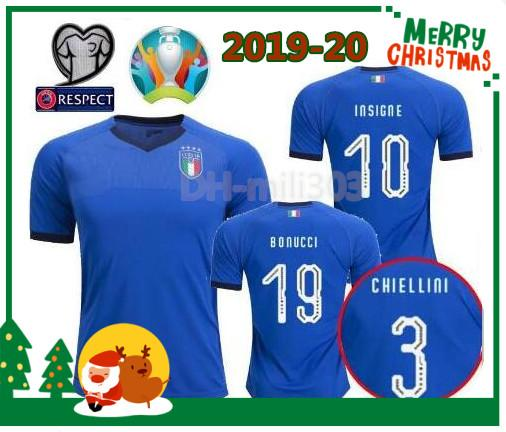 19 20 ITALIE maillots de football Thaïlande qualité 2019 2020 équipe nationale de coupe d'Europe Italie BONUCCI IMMOBILE INSIGNE maillot de football