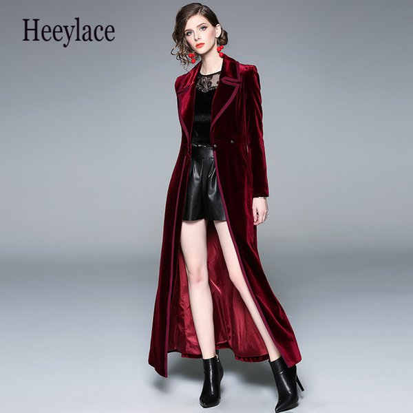 outstanding features noveldesign 2019 professional 2019 2019 Autumn Winter Burgundy Velvet X Long Overcoat Women'S Notched  Collar Outwear Vintage Ankle Length Thick Maxi Trench Coat From Sikaku,  $61.79 ...