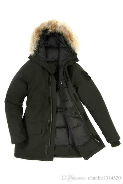 Men/Women Parkas LONG WINTER CAN-Chilliwack-c Down & Parkas WITH HOOD/Snowdome jacket Brand Real Raccoon Collar White Duck Outerwear & Coats