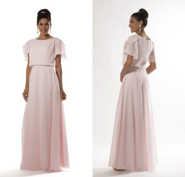 Rose Clair Long Modest Robes De Demoiselle D'honneur 2019 Avec Manches Flutter A-line Longueur Au Sol Formelle Soirée Femmes Robe De Fête De Mariage
