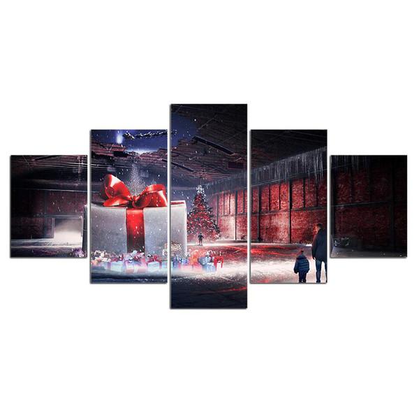 5 Pcs Caixa de Presente de Natal Feliz Cartazes E Impressões Home Decor Wall Art Imagem Pintura Da Lona Cuadros Decocation No Frame