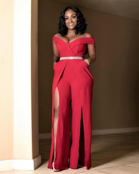 AHVIT Hot estilo sexy moda feminina verão novo um ombro profundo V macacão de cor sólida divisão YZ-B704