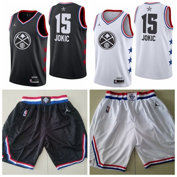 new styles d6386 1cac5 2019 Men'S Denver City Nikola Nuggets 15 Jokics Brand White Black 2019 All  Star Game Finished Swingman Jersey And Ball Short From Abcpengpeng01, ...