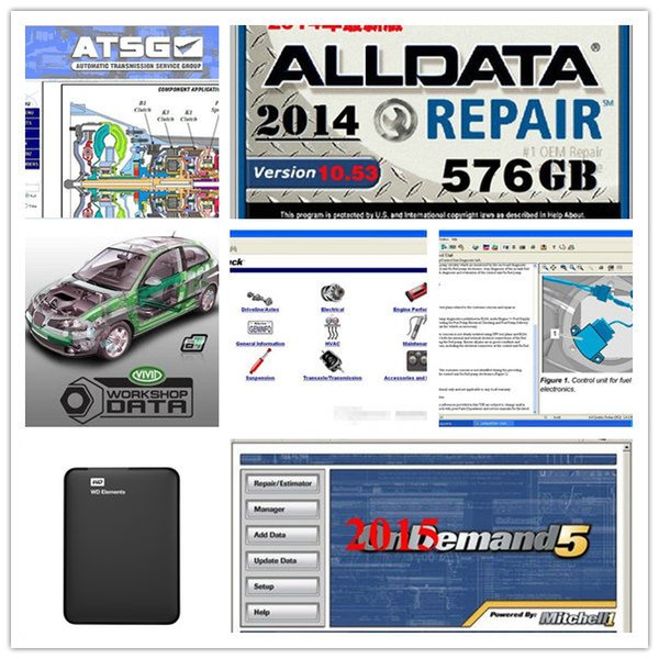 best selling Alldata 2019 auto Repair Soft-ware all data v10.53+Mitchell + heavy truck+atsg 46 in1 1TB HDD for all cars & trucks