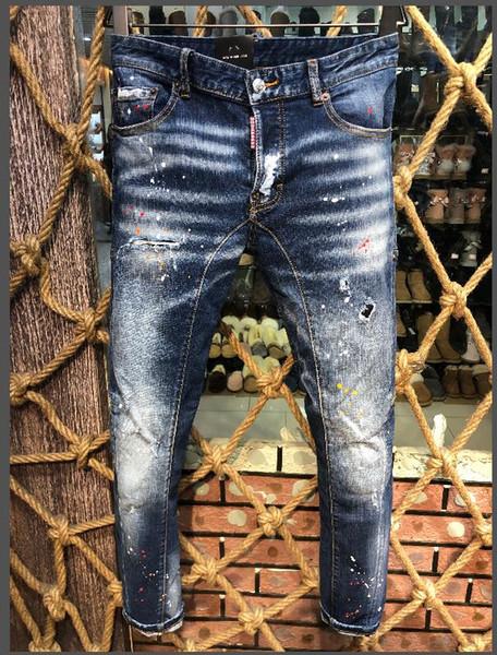 Gli uomini hanno strappato i jeans del motociclista del motociclo del motociclo diritto del progettista del foro sottile di modo Pantaloni causali dei pantaloni del denim degli uomini Pantaloni di denim freschi