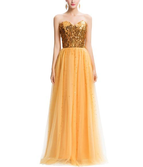 Long Gold Sequins Evening Dresses Bling Bling Floor Length Sweetheart Neck Lace up Back Formal Prom Party Holiday Gowns for Women 2019