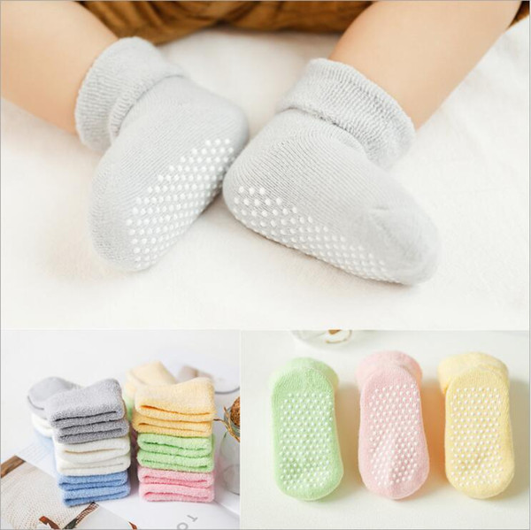 Thick Toddler Socks Baby Socks Anti Slip Infant Floor Socks Solid Newborn Sneaker Footsocks Boys Girl Footwear Baby Clothing 6 Colors C6411