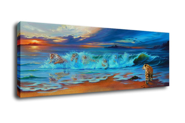 Jim Warren Abstract Art The Tigers Came From The Sea,Oil Painting Reproduction High Quality Giclee Print on Canvas Modern Home Art Decor