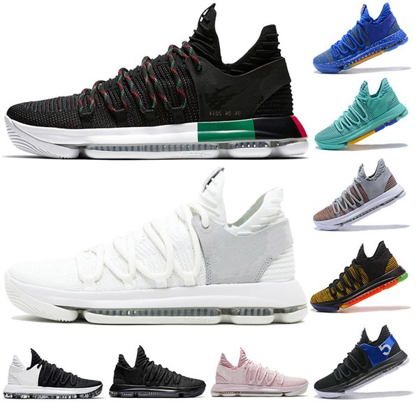 Zoom New Kd 10 Anniversary Pe Bhm Oreo Triple Men Basketball Shoes Kd 10 Elite Low Kevin Durant Athletic Sport Sneakers 8-12