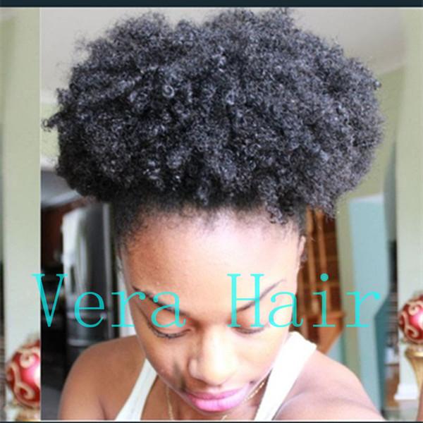 Cheveux Humains Afro Puff Drawstring Ponytails Clip Afro-Américain Ponytail Court Crépus Bouclés Bouffés Extensions de Cheveux pour Femmes Noires