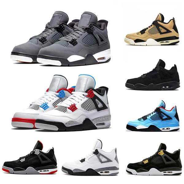 Nike Air Jordan Retro 4 Jordans 4s Yeni Siyah Sakız 4 IV 4 s Basketbol Ayakkabı Erkekler Siyah Kedi yetiştirilen ateş Kırmızı Beyaz Kaktüs Jack Travis Raptors Spor Eğitmenler Sneakers