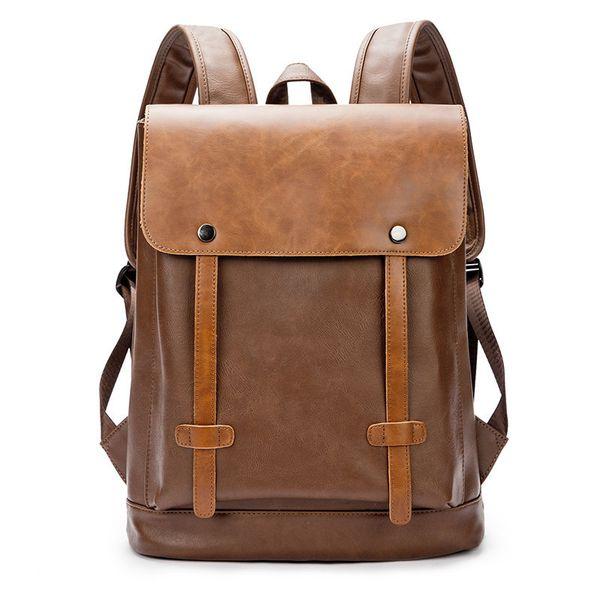 New Retro Men Backpack Laptop England Style Fashion Retro Crazy Horse Leather Backpacks Men's Bag Mochila Male Bolsa Sac