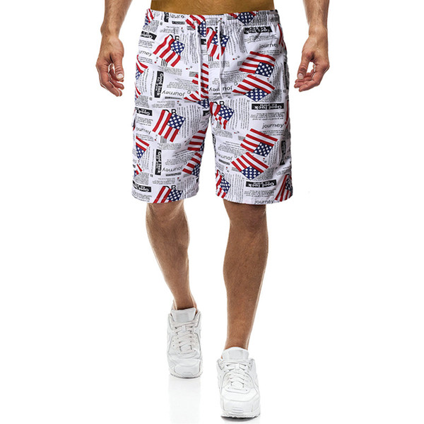 EE. UU. Imprimir Deportes de Playa Pantalones para Correr Hombres Natación Mezcla de Algodón Pantalones Cortos Pantalones Cortos Spandex Hombres Bandera Americana Pantalones Cortos de Natación