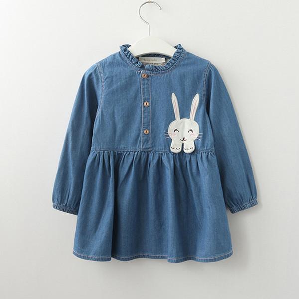 Весна лето девочки платье повседневная Кролик вышитые с длинными рукавами джинсовая юбка платье принцессы девочка одежда дети платье для девочек