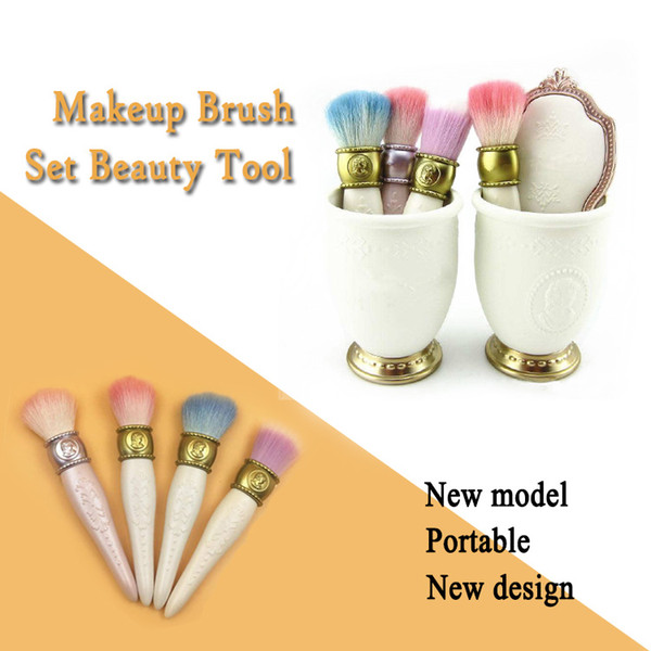 Manufacturer Direct Sale LES MERVEILLEUSES LADUREE 4pcs brush set + 1pc mirror + 1pc Brush Holder makeup Brush set best Quality