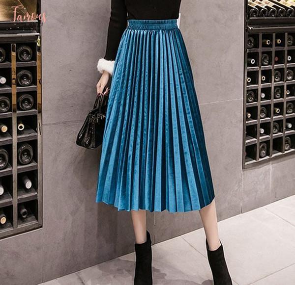 Jupe en velours Automne Hiver taille haute Skinny Grande balançoire longues jupes plissées d'hiver métalliques 18 couleurs Taille Plus Saia