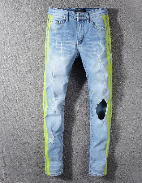 Fashion-2019SS Mens Holes Jeans Männer Hip Hop Holes Biker Jeans Denim Hosen Casual Slim Fit Baumwolle Lange Hosen Hosen Größe 28-40