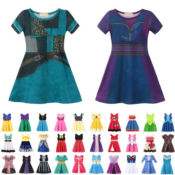 best selling 37 style Little Girls Princess Summer Cartoon Children Kids princess dresses Casual Clothes Kid Trip Frocks Party Costume AA1919