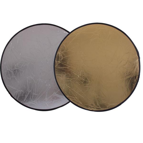 faisán plata 2 en 1 60 cm 23 pulgadas Ronda Flash Studio plegable Refletor la luz del disco reflector de plata de oro al por mayor del reflector