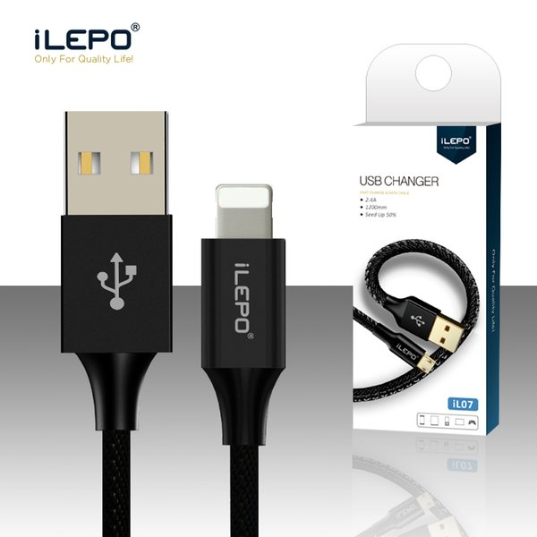 iLepo Cable USB para teléfono Inteligente Chip Carga rápida Transferencia de datos Cable trenzado de nylon para 8 X Xs Max Pad Pod