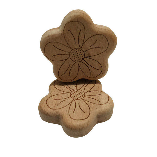 Natural Beech Wood Flower shape Pacifier Clip Unfinished Nontoxic Baby Nipple Holder DIY Infant Pacifier Clasps Holder Accessories
