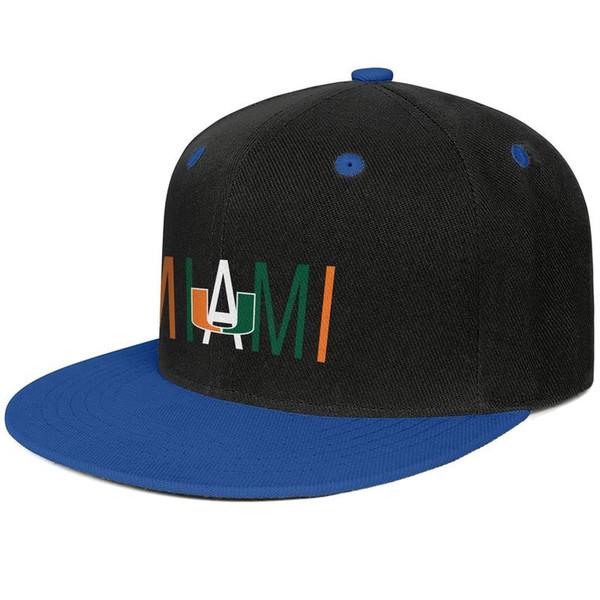 Miami Hurricanes football logo Blue for men and women hip-hop flat brim cap design fitted golf sports vintage custom stylish classic flat b