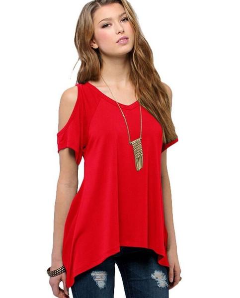 2018 Marka giyim yaz V saf pamuk kısa kollu Straplez yaka fishtail etek kadın T-shirt Ücretsiz kargo S-XXXL