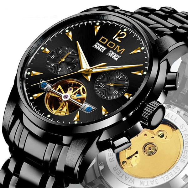 Relógio Mecânico Dos Homens de Pulso Automático Retro Relógios Homens À Prova D 'Água Relógio de Aço Inoxidável Preto Relógio Montre Homme