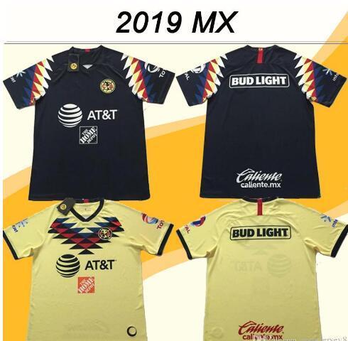 2019 20 Mexico American Club Soccer Jerseys DOMINGUEZ Home Yellow Away Black Football Shirts Mexican MENEZ P.AGUILAR Camisetas de fútbol