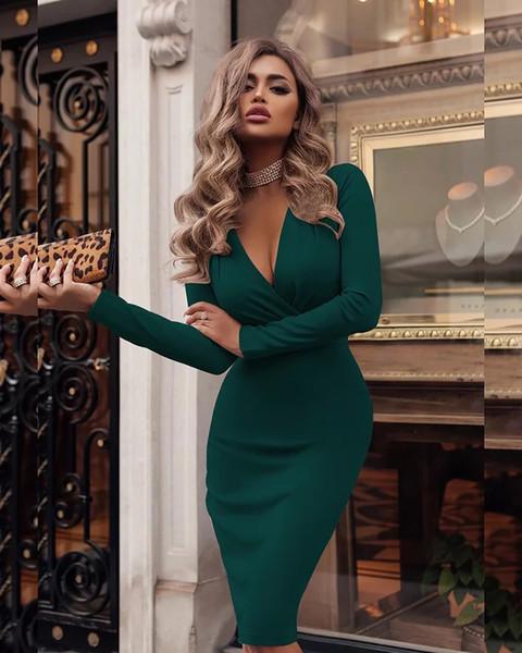 7 color nueva explosión de las mujeres del estilo de los vestidos V profundo con las tetas al plisado atractivo de las nalgas primavera y el otoño de manga larga que basa la falda de envío